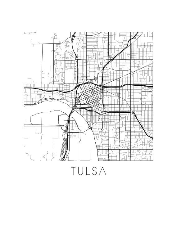 Tulsa Map Print by iLikeMaps on Etsy