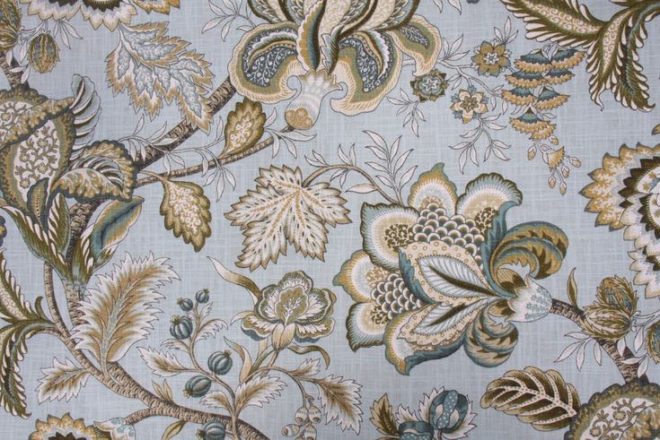 Floral/Vine Prints :: Robert Allen Jacobean Swag Crypton Printed Cotton Drapery Fabric in Mineral $25.95 per yard - FabricGuru.com: Discount and Wholesale Fabric, Upholstery Fabric, Drapery Fabric, Fabric Remnants