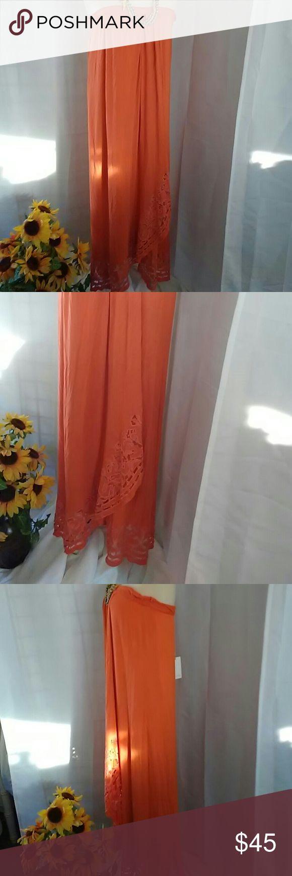 AMUTA NAITHANI orange Sarong like Dress Maxi length warm pumpkin orange color.  Cut out border around the hem. Size M. Straight cut with cutaway skirt in front. Strapless. Truely memorable piece. Amita Naithani Dresses Strapless