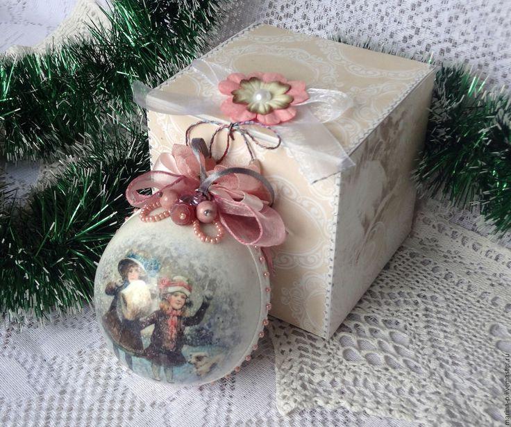 """Купить Шар на ёлку """" Зимние картинки"""" - бледно-розовый, Новый Год, новогодний подарок"""