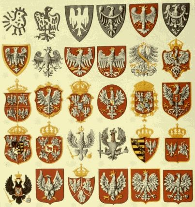 "The Evolution of the Polish Coat-of-Arms. Actually, the current one is missing. The last one in this chart is the ""communist eagle"", stripped of its crown in 1945 to show rejection of ""monarchist- bourgeois values"". In 1990, after the fall of communism, the pre-war eagle was reinstated."