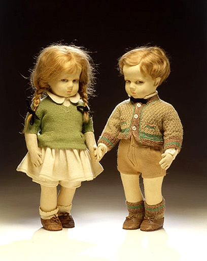 Boy and girl dolls, Lenci, Italy, about 1927. No doll has ever wanted your soul more than these kids.  Creep factor on 10.