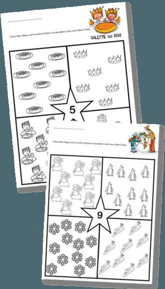 Fiches numération maternelle – Quantités jusqu'à 9 – Thèmes : Galette des rois et Hiver | la maîtresse a des yeux dans le dos