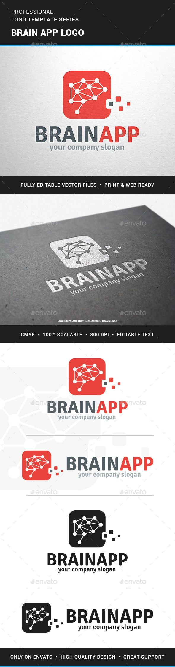 Brain App Logo Template — Photoshop PSD #games #training • Available here → https://graphicriver.net/item/brain-app-logo-template/12776505?ref=pxcr