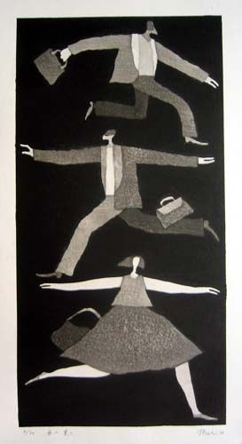 [Art Work / Japanese Prints] Aoki,Tetsuo [ To west ,to east ] ed.30, 2004, image size:41(cm)x22(cm), woodblock