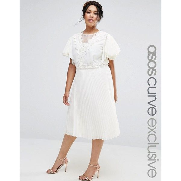 ASOS CURVE Pleated Skirt Midi Dress with Crochet and Organza Detail (255 BRL) ❤ liked on Polyvore featuring dresses, cream, plus size, crochet dress, pleated midi dress, white dress, plus size dresses and white day dress