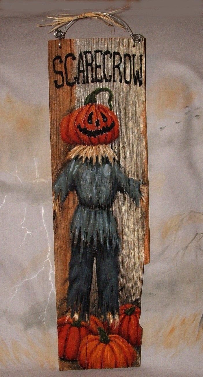 "Scarecrow, pumpkin head scarecrow hand painted on barnwood, 6"" x 20"" by SuzysSantas on Etsy https://www.etsy.com/listing/205802769/scarecrow-pumpkin-head-scarecrow-hand"