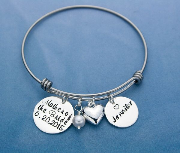 Mother of the Bride gift, Expandable Bangle bracelet with hand stamped, personalized charm