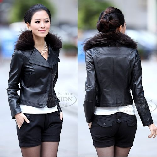 Womens Black Leather Fur Fitted Casual Dress Suit Jacket Clothing SKU