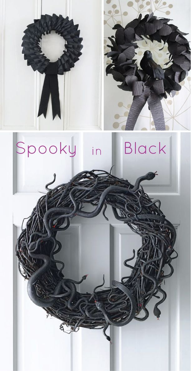 Design Plus You: Halloween Wreaths (I want to make the snake one! I love the little red tongues.)