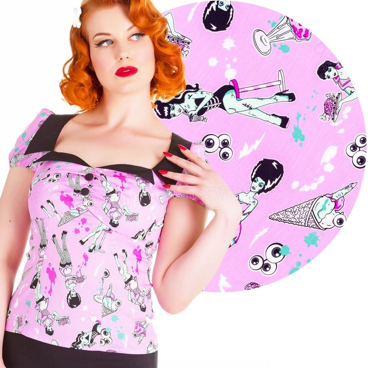 Hell Bunny Zombie Diner Top - Pink
