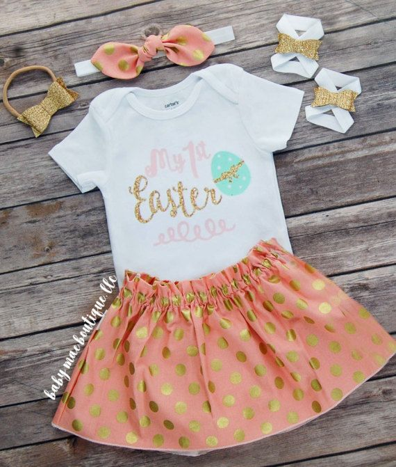 Baby Girl Easter Outfit! - Bodysuit: My 1st Easter with an egg pink, mint and gold glitter vinyl - Skirt: Coral with Gold Dots with an elastic ruffle waist - Fabric Headband: Matching tie knot bow on elastic headband - Glitter Headband: Gold glitter bow on stretchy nylon headband