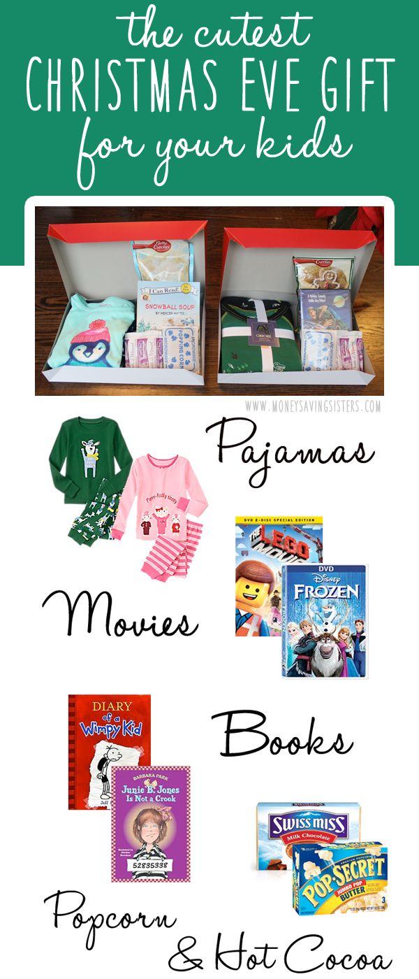 This is the most perfect Christmas Eve gift for kids of any age. Pajamas, a new book, a movie, hot cocoa, microwave popcorn :)