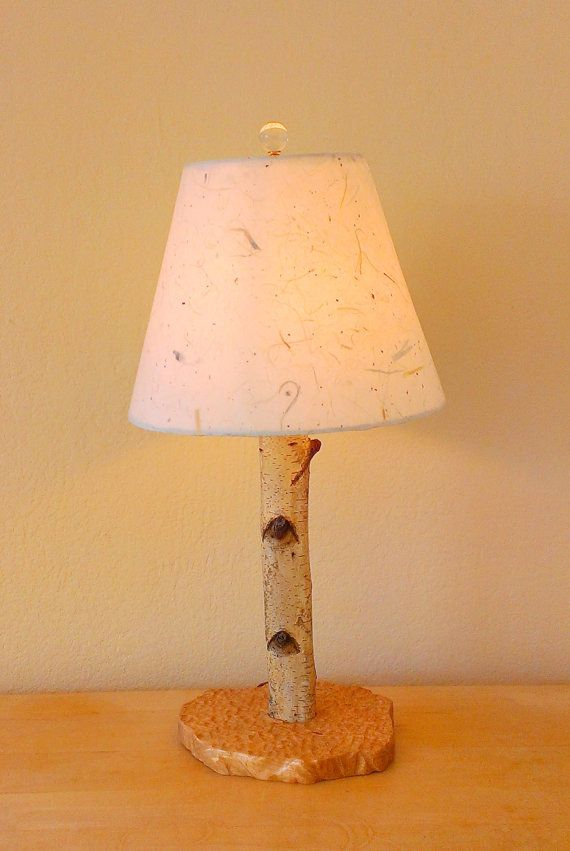 Small Birch Wood Table Lamp