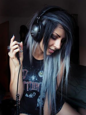 Dark blue-ish. Grey. Pastel blue. Long hair. Scene. Alternative hair style.