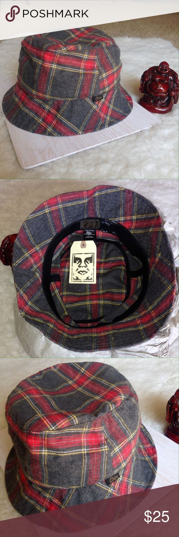 NWT Obey Plaid Glasgow Bucket Hat NWT Obey Plaid Glasgow Bucket Hat One Size Fits All. Colors: Gray / Grey, Red Minor flaw inside the hat. New with Tags ($40) Obey Accessories Hats