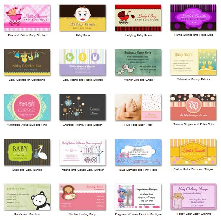 Own Or Operate A Baby Boutique Check Out Business Cards Galore For A Collection Of The Cutest