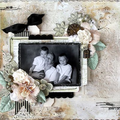 Timeless layout by Prima Educator, Cari Fennell for Prima using Lifetime collection, Odette flowers, wood and metal. #primamarketing #carifennell