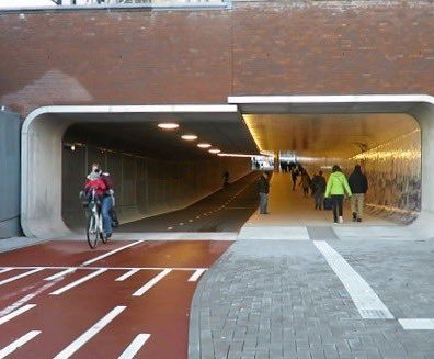 Entrance to the bicycle & pedestrian tunnel under Amsterdam Central Station…
