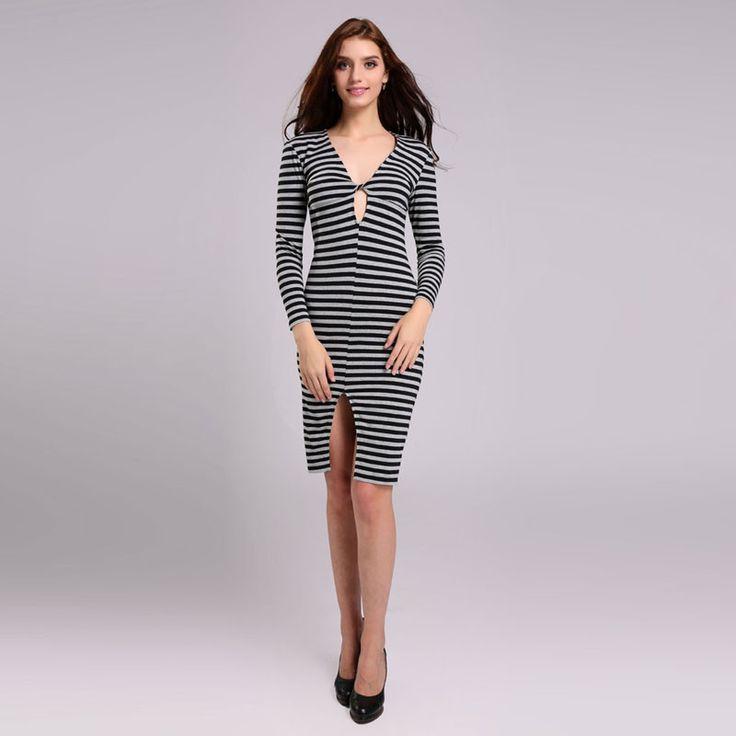 Women Striped Autumn Dress Women Long Sleeve Slim Sexy V-Neck Split Hollow Out Dress Ladies Vestidos SKU-1096