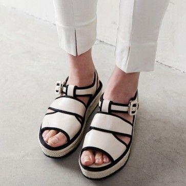 [Black Line Sandals] Faux leather #sandals featuring a buckled ankle strap. #leathershoes #shoe #koreanfashion #shoesonline #shopping #onlinestore #asianfashion