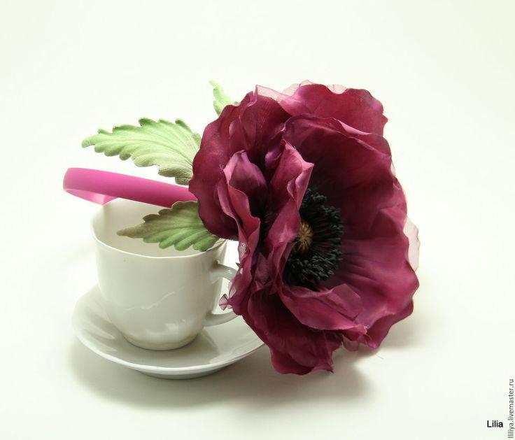 Купить Цветы из шелка. Ободок с цветком Мака - бордовый, мак, цветы из шелка, мак из шелка