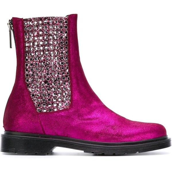 Susana Traça Embellished Sides Flat Boots ($278) ❤ liked on Polyvore featuring shoes, boots, fuchsia shoes, genuine leather boots, embellished shoes, fuschia boots and metallic boots