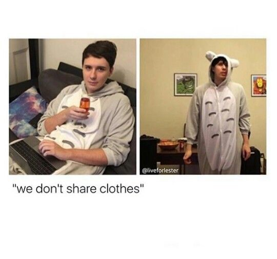 LITERALLY DAN LIVES IN THAT ONESIE AND ITS PHILS