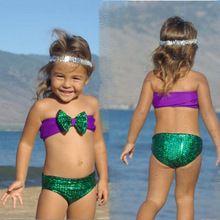 Princesse sirène bébé enfants filles Bowknot paillettes Bikini ensemble maillots de bain maillot de bain(China (Mainland))