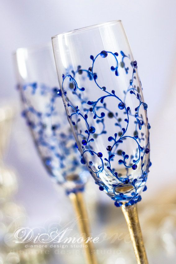 Royal blue and Gold wedding, champagne glasses from the collection Art Deco, electric wedding, personalized toasting flutes, lace,  2pcs