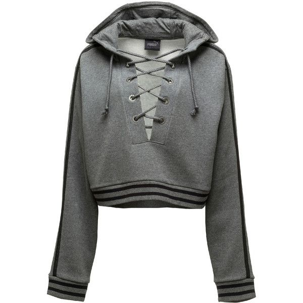 Fenty Puma By Rihanna Lace-Up Hoodie Sweatshirt (115 AUD) ❤ liked on Polyvore featuring tops, hoodies, charcoal heather, women's apparel tops, hooded crop top, lace up hoodie, hooded sweatshirt, cropped hooded sweatshirt and pullover hoodies