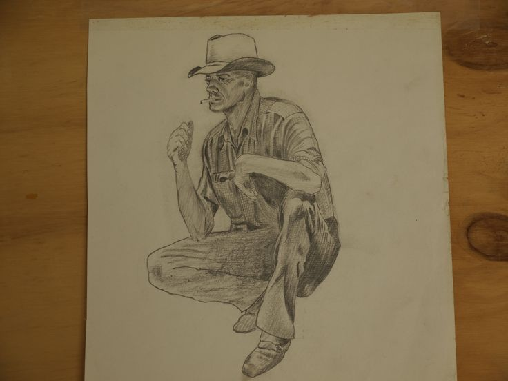 Quick sketch of an Aussie drover. This was my only drawing in 43 years while I brought up my family of four sons.