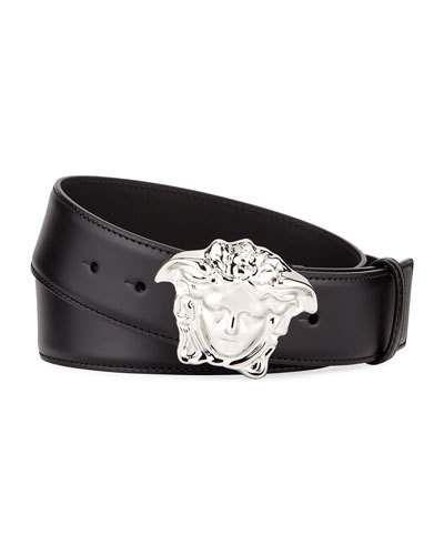 6b2b434e2 Versace Men's Leather Medusa-Buckle Belt Cinturones, Cuero Para Hombres,  Cinturón Negro,