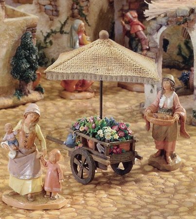 "Roman Fontanini 5"" Christmas Nativity Village Flower Cart"