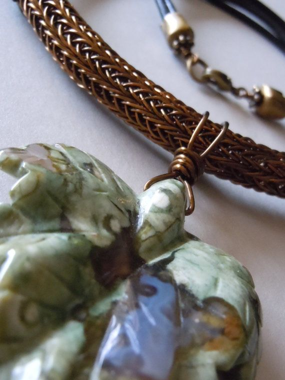 Viking Knitting Tutorial Pdf : Double viking knit bronze leather and rhyolite necklace