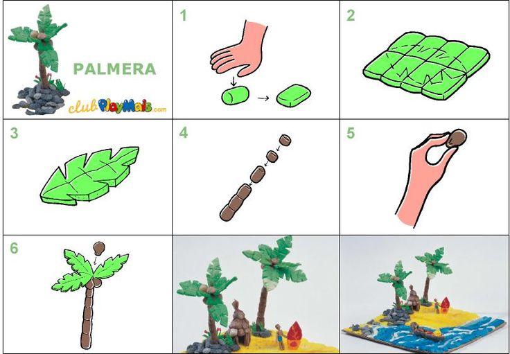 Palmera pl stica y manualidades pinterest trees - Como hacer una palmera artificial ...