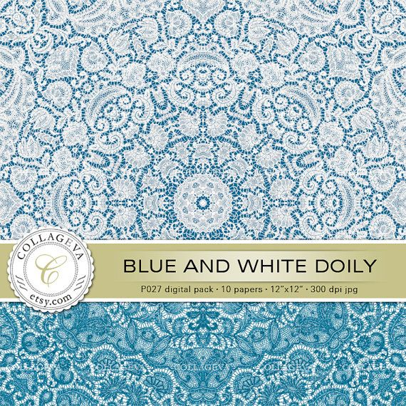 """Blue & white doily (P027) Digital Pack 10 Printable Images 12x12"""" Lace Crochet, Rustic Country Wedding, Romantic Shabby Chic Scrapbook Paper by collageva"""
