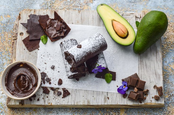 Chocolate avocado filled cannelloni
