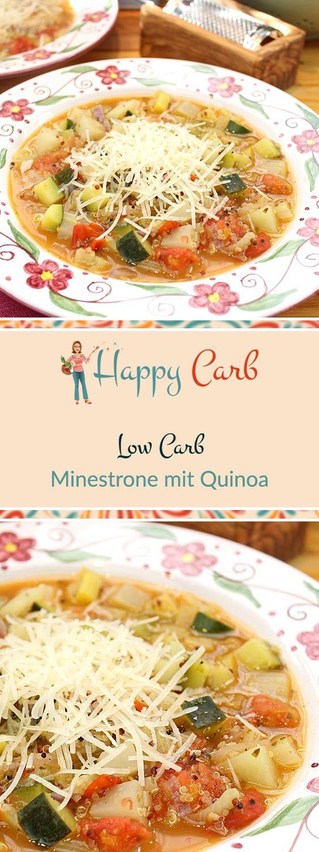 Eine leckere italienische Minestrone mit Quinoa, welches eine tolle pflanzliche Proteinquelle ist. Mit extra viel Gemüse wie Fenchel, Staudensellerie, Zucchini, Lauch, Kohlrabi und Tomaten. Low Carb Rezepte von Happy Carb. https://happycarb.de/rezepte/vegetarisch/minestrone-mit-quinoa/