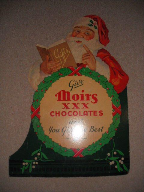 Vintage Moirs Chocolates Christmas Advertising Sign Santa Claus