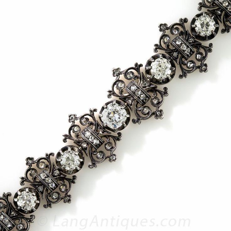French Antique Diamond Bracelet - Victorian Jewelry