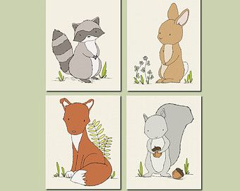 Woodland Nursery Art Woodland Animal Art by SweetMelodyDesigns