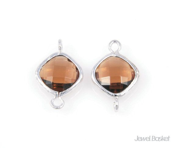 - Highly Polished Silver Frame (Tarnish Resistant) - Smoky Quartz Color Glass (Dark Brown) - Brass and Glass / 10mm x 15mm - 2pcs / 1pack