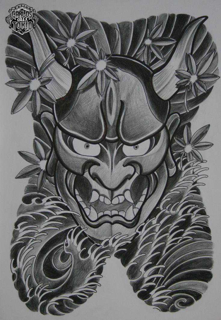 hannya mask tattoo only tattoo yakuza tattoo oni mask lotus tattoo ...