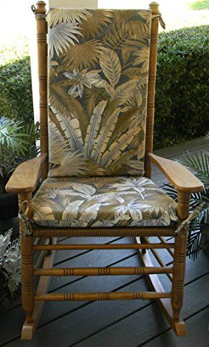 Indoor  Outdoor Tommy Bahama Ocean Blue  Tan Tropical Palm Leaf Floral Print Rocking Chair 2 Pc Foam Cushion Set  Fits Cracker Barrel Rocker <3 This is an Amazon Associate's Pin. Click the image for detailed description on Amazon website.
