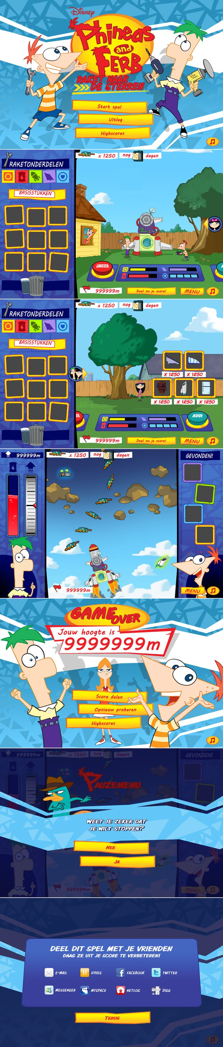 Phineas & Ferb: Out to Launch ('Raket naar de Sterren' in the Dutch version) is an online game where you can build your own rocket from scrap, then take it to the stars! How high can you get?  http://www.grinwise.com/portfolios/phineas-ferb/