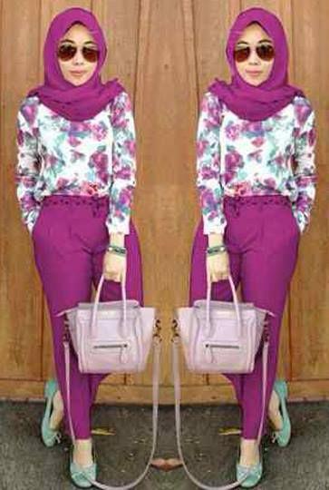 Fiona Set ( Blouse Print Bunga + Celana Panjang Pinggang Karet + Pashmina ) Bahan Spandek Fit L Harga : Rp. 123.500,-/set Kode Produk / Product Code : C2523