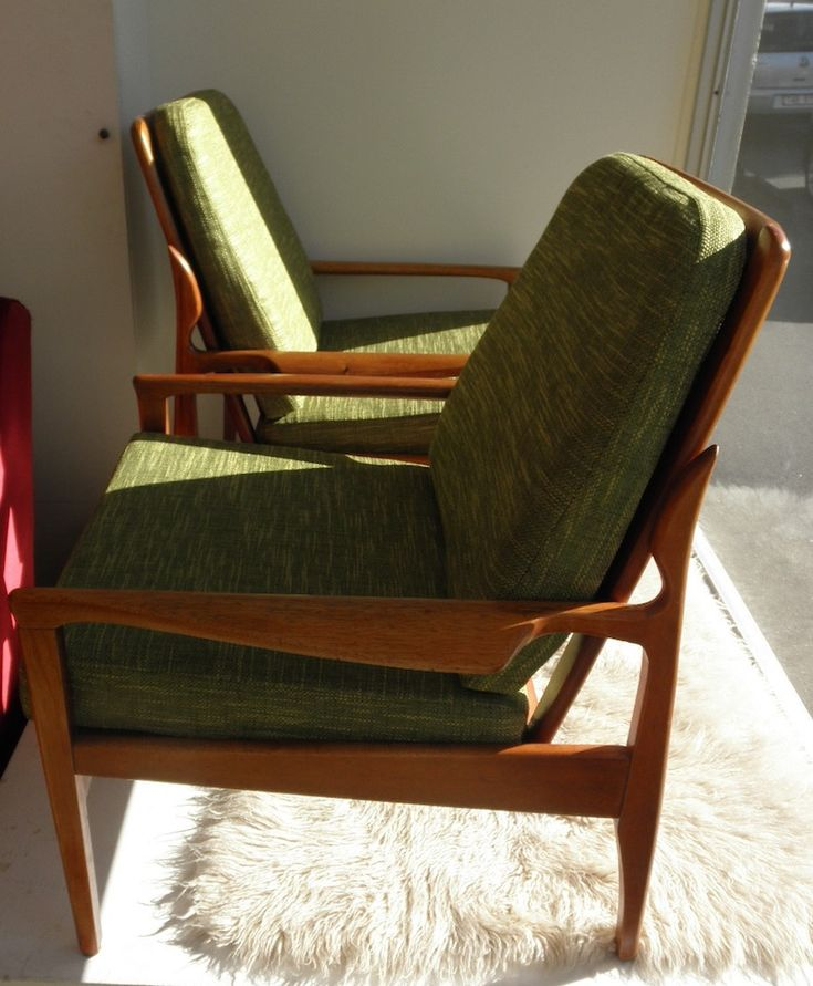 A really nice pair of reupholstered Narvik armchairs. These are the most popular Fred Lowen design as they have a great Danish style, are robust enough for everyday use, constantly increase in value and work in just about any space. Fred Lowen's designs are fast becoming like Grant Featherston's contour range in the 1990s with people buying up all the good stuff with an eye on investment while it's still affordable. Powerhouse Museum and others are buying his work for a reason.