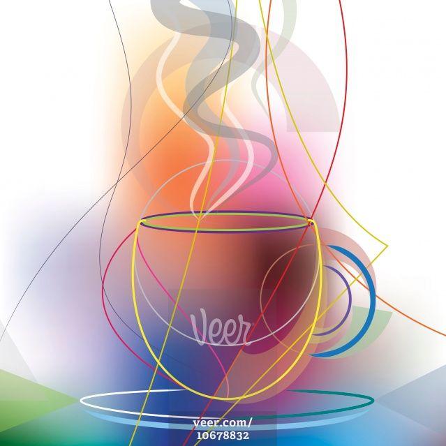 Multicoloured Cup Of Coffee Stock-Illustrationen