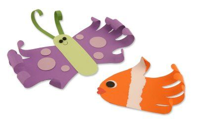 "Have kids trace hands on construction paper.  Use to create butterflies and fish.  Curl ""fingertip"" parts gently around a pencil.  Decorate as desired."